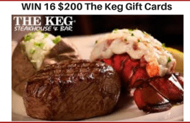 WIN 16 $200 Gift Cards for The Keg