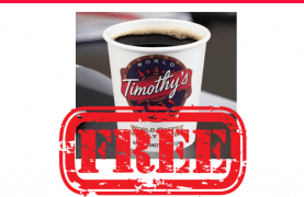 Timothy's Restaurant: Free Coffee Upon Signup