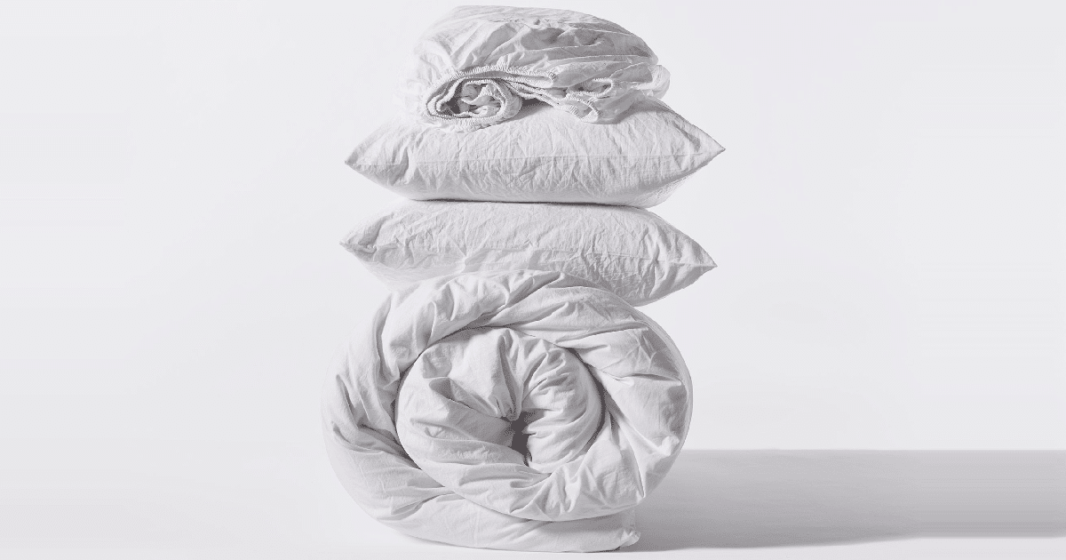 win organic crinkled percale alpine white mnimal set