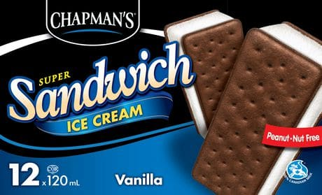 chapmans vanilla ice cream sandwich 1lb