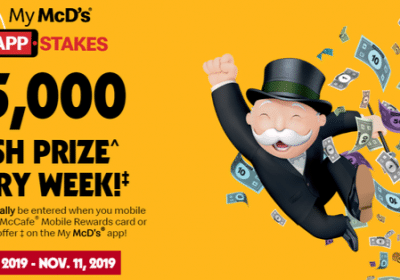 win 1of 5 5000 cheques with McDonalds