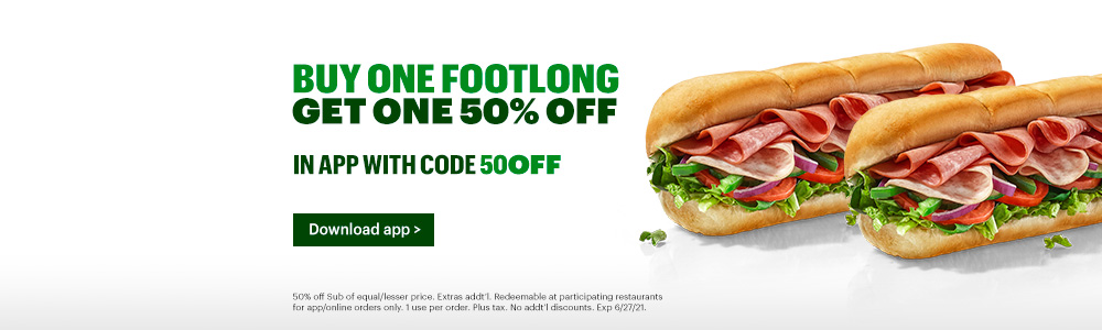 50% Discount on 2nd Footlong