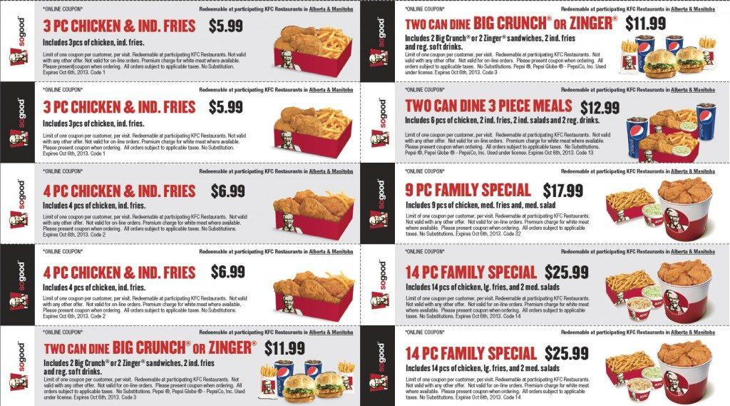 KFC Mailer coupons